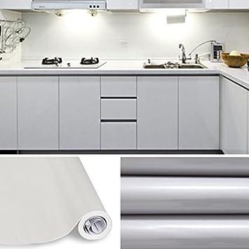 KINLO® Tapeten küche Grau 2 Stk. 61x500cm aus hochwertigem PVC ...