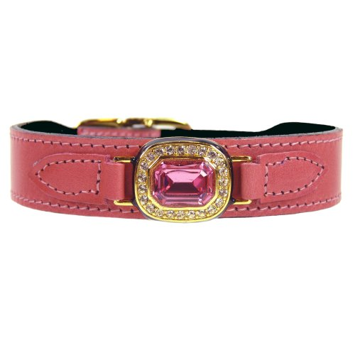 Hartman & Rose Haute Couture Dog Collar, 22 to 24-Inch, Octagon Rose Petal Pink