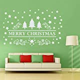 decalmile Merry Christmas Wall Stickers White Christmas Tree Stars Window Clings Decal Stickers Home Decorations Shop Window Decor Holiday Celebration Presents