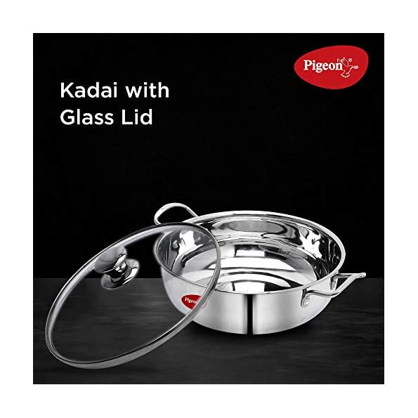 Pigeon-by-Stovekraft-Stainless-Steel-Kadai-with-Glass-Lid-22-cm-Silver-Standard
