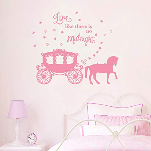 decalmile Princess Horse Carriage Wall Sticker Fairytale Cinderella Inspired Quote Live Like There's no Midnight Girls Wall Decals Kids Baby Nursery Room Decor (Light Pink) (And Horse Decals Wall Princess)
