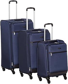 AmazonBasics Softside Spinner 2 Piece Luggage (Navy Blue)