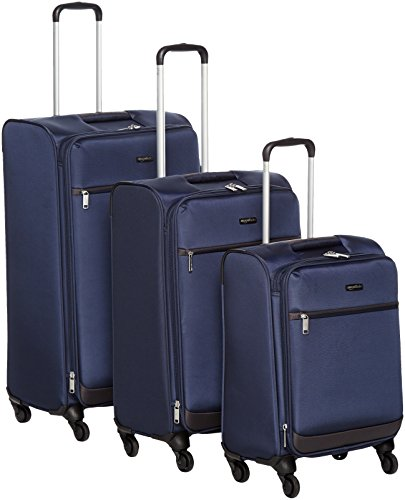 AmazonBasics 3 Piece Softside Carry-On Spinner Luggage Suitcase Set - Navy Blue