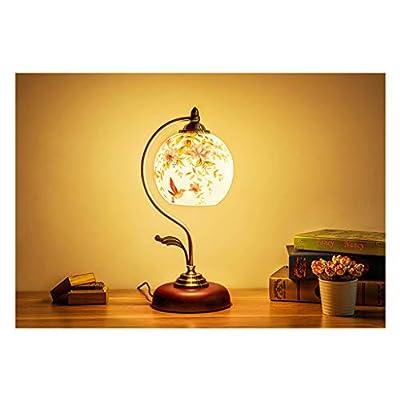 & Lampada da comodino Lampada da comodino, lampada da tavolo a forma di fiore e uccello fatti a mano Luce di lettura