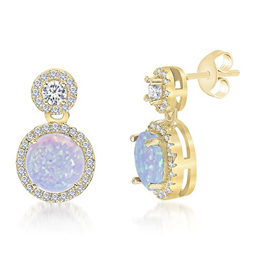 Lesa Michele Lab Created Blue Opal & Cubic Zirconia Drop Earring in Yellow Gold over Sterling Silver 14k Yellow Gold Swarovski Crystal
