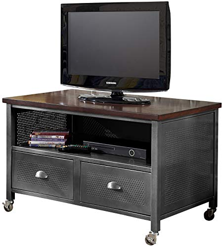 Hillsdale Furniture 1265-790R Urban Quarters 2 Drawer Metal Media Chest, Stand, Black Steel/Antique Cherry