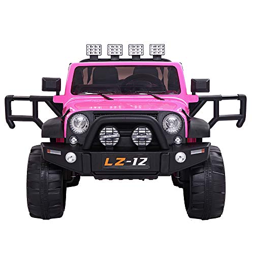 VALUE BOX Safety 12V Battery Electric Remote Control Car, Kids Toddler Ride On Cars Motorized Vehicles Toy Car, Wheels Suspension, Seat Belts, LED Lights and Realistic Horns (Pink)