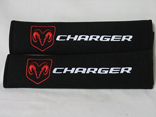 1 PAIR (2 pieces) Dodge Charger Embroidery Seat Belt Cover Cushion Shoulder Harness Pad
