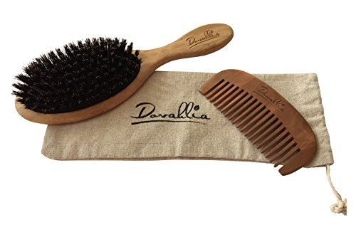 Boar Bristle Hair Brush Set For Women And Men Designed For Thin And Normal Hair Adds Shine And Improves Hair Texture Wood Comb And Gift Bag Included