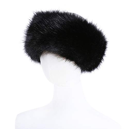 Faux Fur Headband with Elastic for Women's Winter Earwarmer Earmuff(one size,Black)