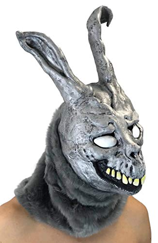 Donnie Darko Frank The Bunny Mask Latex Overhead with Fur Adult Costume Grey -