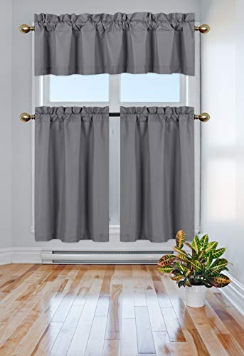 Elegant Home Collection 3 Piece Solid Color 90% Blackout Kitchen Window Curtain Set with Tiers and Valance Solid Thermal Room Darkening Drape Window Treatment # R3 MF (Dark Grey/Charcoal)