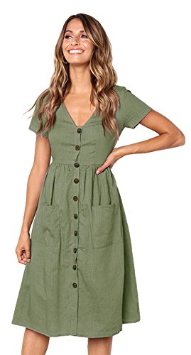Longwu Deman Kleider Beachwear High Taille Dress Frauen Casual Kurzarm  V-Ausschnitt Button Down Sommer e5dbd12680