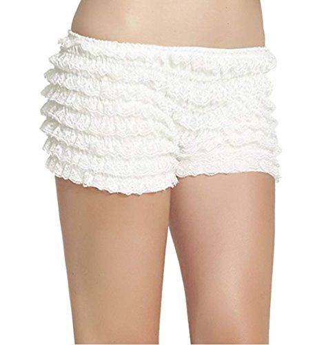 Women Sexy Lace Ruffle Bowknot Panties Tanga Dance Boyshorts Bloomers Rhumba Booty Shorts (White, M)