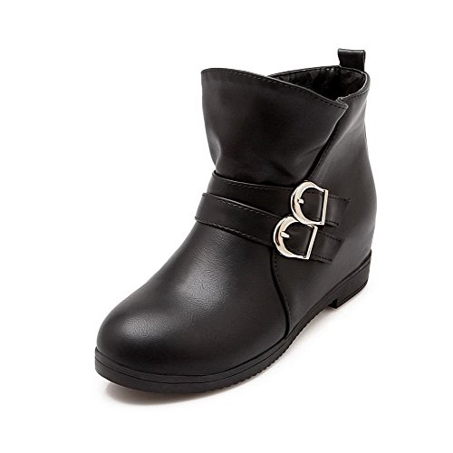 Heels Black Solid Low AgooLar Toe On Top Round Low Closed Women's Boots Pull wv7vqS