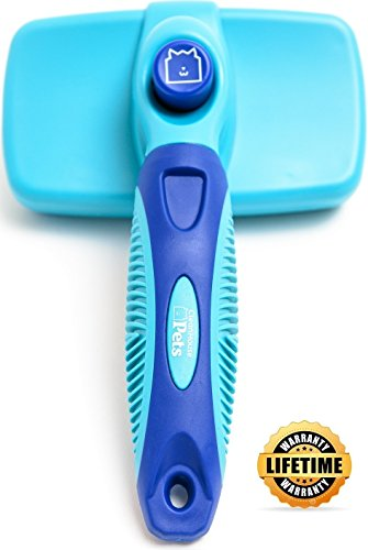 CleanHouse Dog Brush and Cat Brush, Reduces Shedding, Easy Self Cleaning Slicker Brush Removes Tangles, Cleans, De Sheds, Best Dog and Cat Grooming Brush for All Pet Sizes and Hair Types