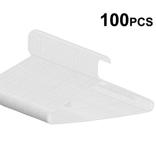 (SUPER DEAL 100-pack White Plastic Hangers Premium Quality Ultra Thin Non-Slip Suit Hanger Long Lasting Tubular Clothes Hangers - Wrinkle Free - Space Saving - Heavy Duty (Set of 100) (White))