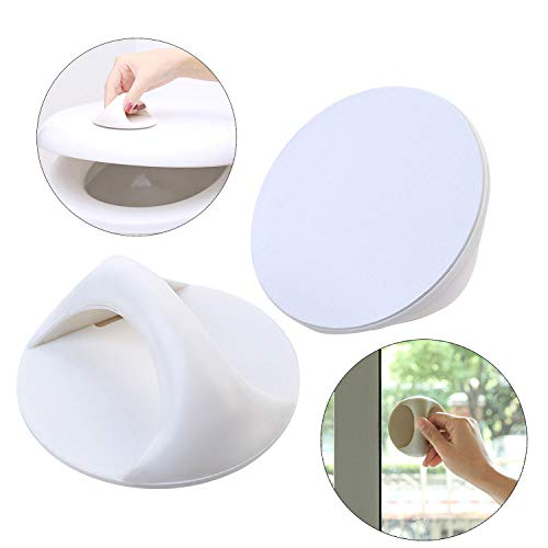 ANFUN 2 Self-Stick Instant Cabinet Drawer Handle Instant Adhesive Carry Handle Round White Drawer Opening Stick Knobs Helper Auxiliary Kitchen Cabinet Door Window Handle Convenient Opening Stick-on Ha (Stick Knob)
