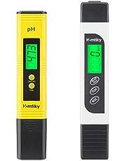 Homtiky Medidor pH, Medidor TDS Temperatura EC 4 en 1 Digital, Probador de la Calidad del Agua con Rango de Medida de 0-14 pH, 0-9999ppm Calibración Automática