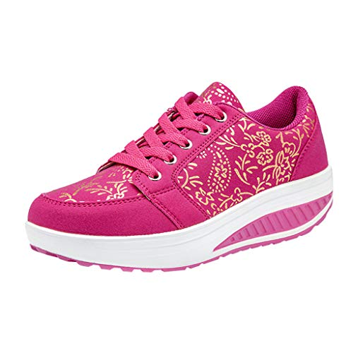 MIUCAT Women's Lace Up Shoes Print Casual Sport Shoe Non-Slip Breathable Running Platform Sneakers Red