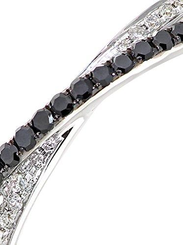 Revoni - Bague en or blanc 9 carats et diamants blancs et noirs, motif xoxo