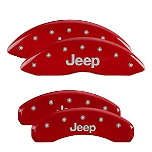 MGP Caliper Covers 42006SJEPRD 'JEEP' Engraved Caliper Cover with Red Powder Coat Finish and Silver Characters, (Set of 4)