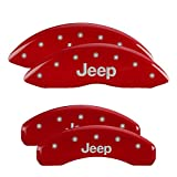#4: MGP Caliper Covers 42006SJEPRD 'JEEP' Engraved Caliper Cover with Red Powder Coat Finish and Silver Characters, (Set of 4)