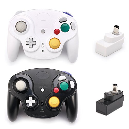 Poulep Classic 2.4G Wireless Controllers Gamepad with Receiver Adapter for Wii U Gamecube NGC GC (Black and White)