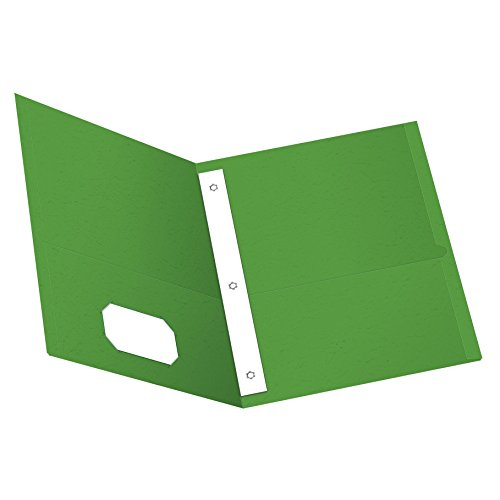 Oxford Twin Pocket Folders with Fasteners, Letter Size, Light Green, 25 per Box (57703)