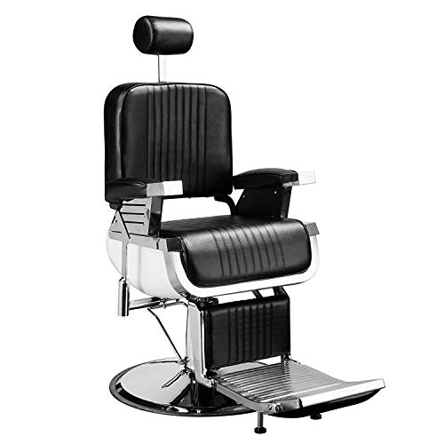 (SUNCOO All Purpose Barber Chair Hydraulic Deluxe Reclining Salon Beauty Barbershop-Heavy Duty Adjustable Headrest,Classic Styling Stainless Steel Handrails H39