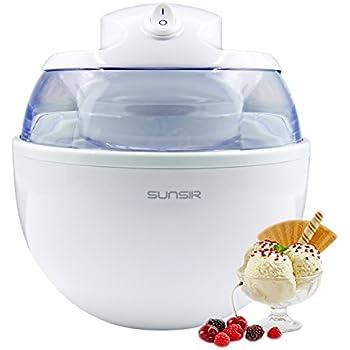 Sunsir Home Mini Automatic Ice Cream, Frozen Yogurt and Sorbet Dessert Maker Machine for DIY Fun, Customize Your Own Flavor 3/5-Quart/ 0.6L, White