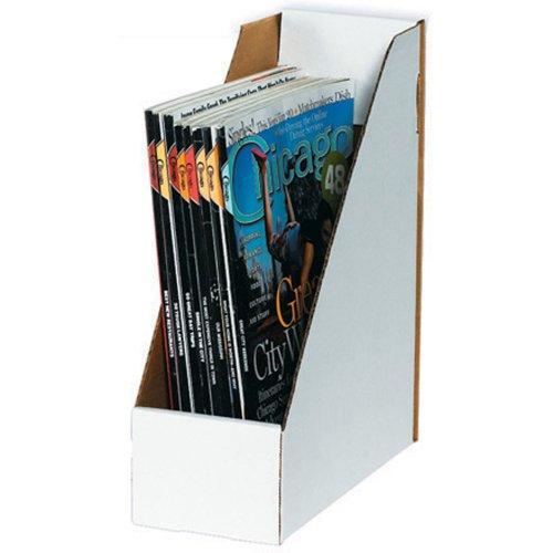 "Aviditi MDIS105 Corrugated Magazine File Box, 9-1/4"" Length x 4"" Width x 12"" Height, White (Bundle of 50)"