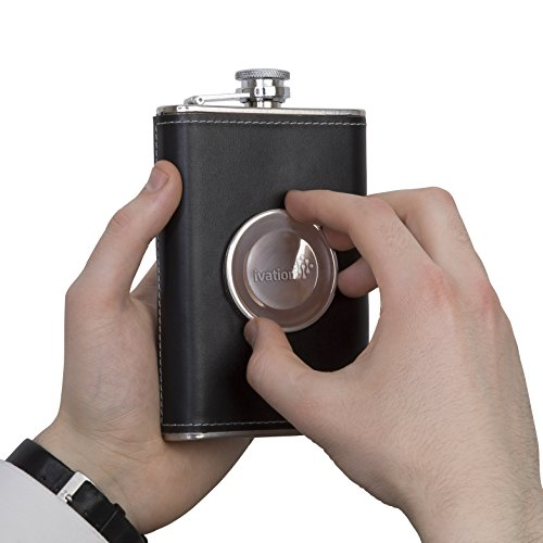 Hip-Flask-Shot-Flask-8oz-Stainless-Steel-Genuine-Leather-perfact-with-Collapsible-2oz-Shot-Glass-Bonus-Funnel-Included