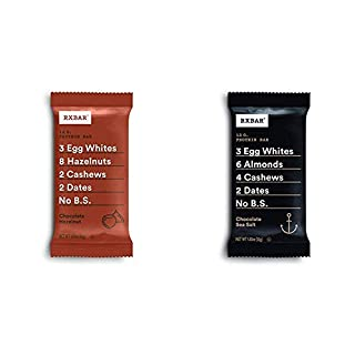 RXBAR, Chocolate Hazelnut, Protein Bar, 1.83 Ounce Breakfast Bar, High Protein Snack with Chocolate Sea Salt, Protein Bar, 1.83 Ounce (12 count) Breakfast Bar
