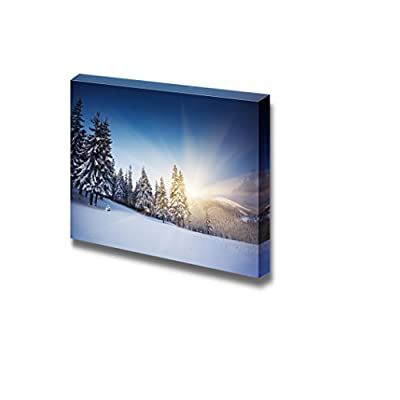 Canvas Prints Wall Art - Majestic View After Snow at Sunset in The Winter Mountains | Modern Wall Decor/Home Decoration Stretched Gallery Canvas Wrap Giclee Print & Ready to Hang - 24