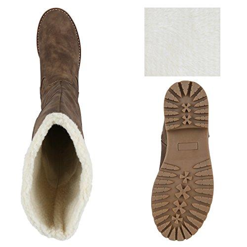 Stiefelparadies Klassische Damen Schuhe Stiefel Quasten Stylisch Flandell Khaki Camiri