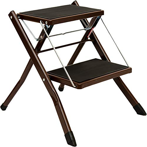 BIZI Step Stool - Aluminum Alloy Foot Stool Folding Non-Slip 2 Layer Multifunctional Portable Household Folding Ladder Flower Shelf Library Indoor Ladder Home Step Stool (Color : Brown)
