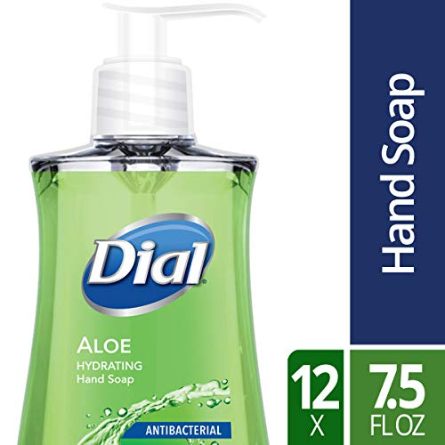 Dial Antibacterial Liquid Hand Soap, Aloe, 7.5 Fluid oz (Pack of 12)