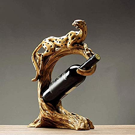 KUMOPYU Estante De Vino De Estilo Europeo, Decoración para El Hogar, Estante De Vino, Gabinete, Decoración De Leopardo, Estante De Vino Artesanal Americano Creativo Vinotecas Copas De Vino botellero