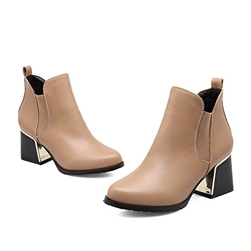 AllhqFashion Womens Closed Round Toe High-Heels Soft Material Low-top Solid Boots Apricot PCTOk