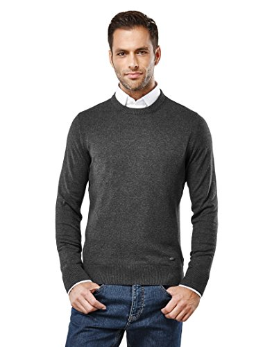 Vincenzo Boretti Men's Classic Knit Sweater With Crew Neck, Slim,Anthracite,Large Classic Cable Crewneck Sweater