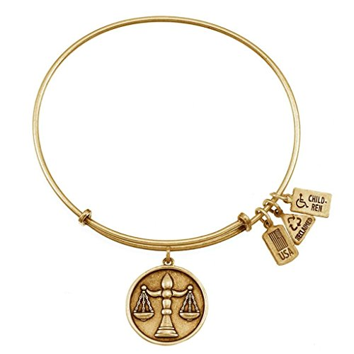 Wind and Fire Women's Scales Of Justice Charm Bangle Gold Plated (Plated Justice Gold)