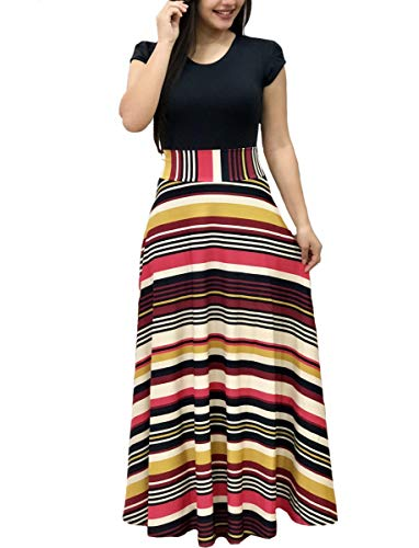 ress O-Neck Short Sleeve Floral Printed Casual Swing Long Maxi Dress, Stripes L ()
