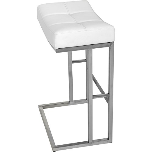 MIX Brushed Stainless Steel Faux Leather White 26-inch Seat Height Stationary Saddle Bar Stool - Leather Steel Bar Stool