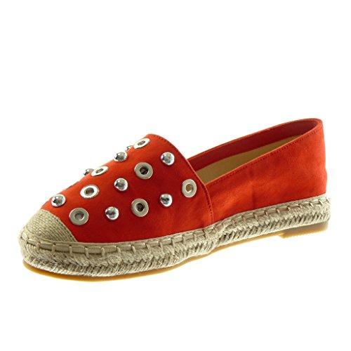 Perle on Chaussure Slip 2 5 Bloc Talon Perforée Rouge Cm Mode Femme Angkorly Clouté Espadrille Ix8w4qIdA