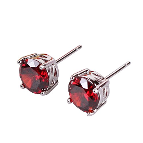 Round Base Hinged (GULICX Silver Plated Base Garnet Color Red Engagement Party Classic Stud Eearring)