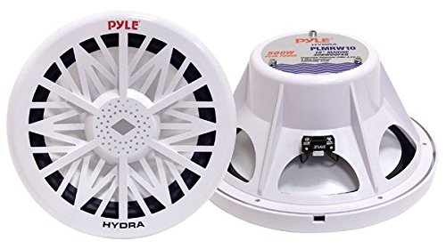 Pyle PLMRW8 8-Inch Outdoor Marine Audio Subwoofer - 400 Watt Single White Waterproof Bass Loud Speaker For Marine Stereo Sound System, Under Helm or Box Case Mount in Small Boat, Water Vehicle 200 Watt Powered 8' Bass