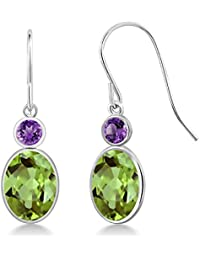 2.86 Ct Oval Green Peridot and Purple Amethyst 14K White Gold Women's Earrings