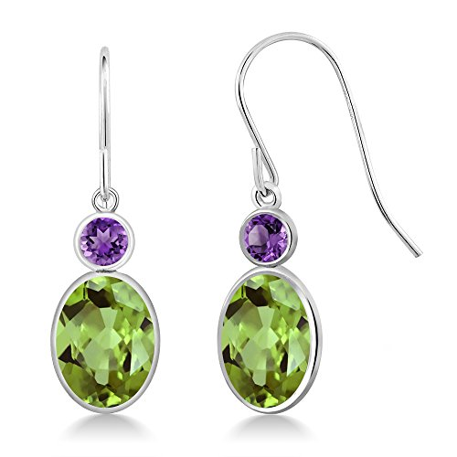 eridot and Purple Amethyst 14K White Gold Women's Earrings ()