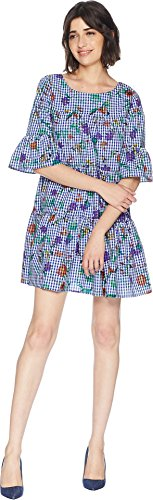 (Romeo & Juliet Couture Women's Flower Print Gingham Dress Blue/White Small)